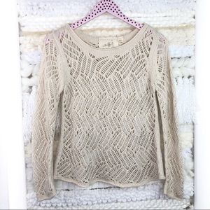 Anthropologie Angel of the North Cream Sweater
